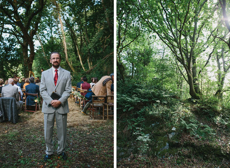 Woodland camping wedding photo by alternative wedding photographer Peach and Jo taken at Fforest, Pembrokeshire, Wales