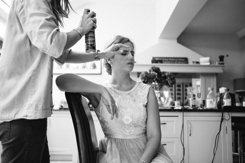 Creative wedding photography, bride preparation
