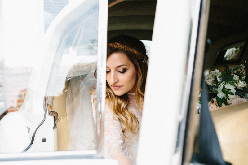 Fine art wedding photography, bride leaving the car