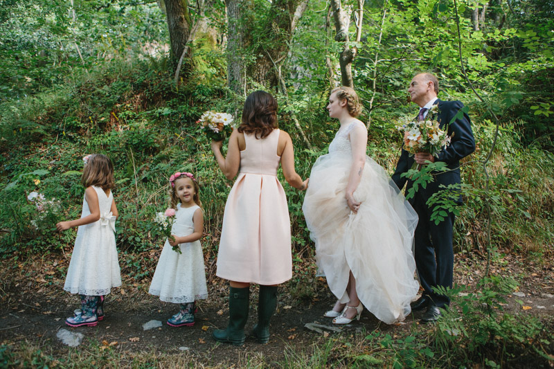 Outdoor wedding photo by creative wedding photographer Peach & Jo taken at Fforest, Pembrokeshire, Wales, UK.