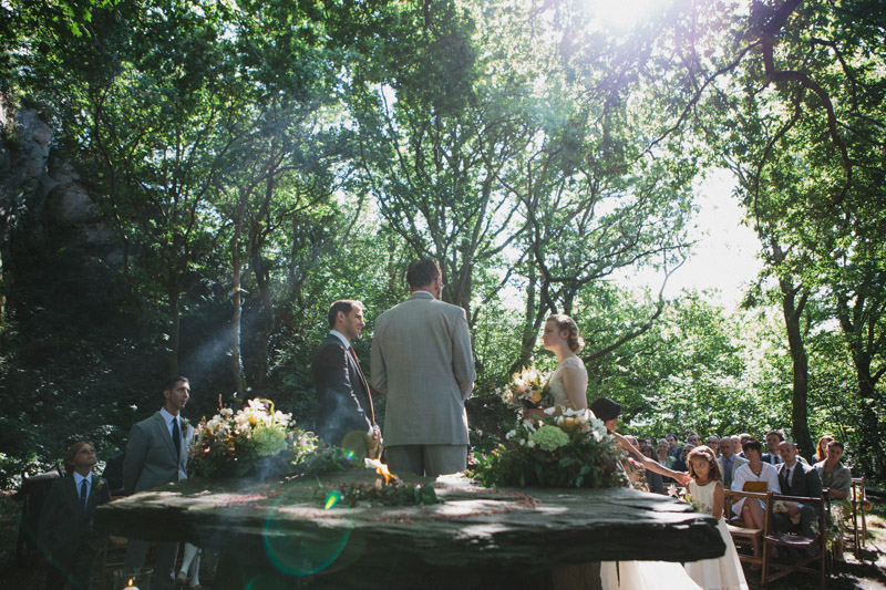Outdoor wedding photo by alternative wedding photographer Peach & Jo taken at Fforest, Pembrokeshire, Wales, UK.