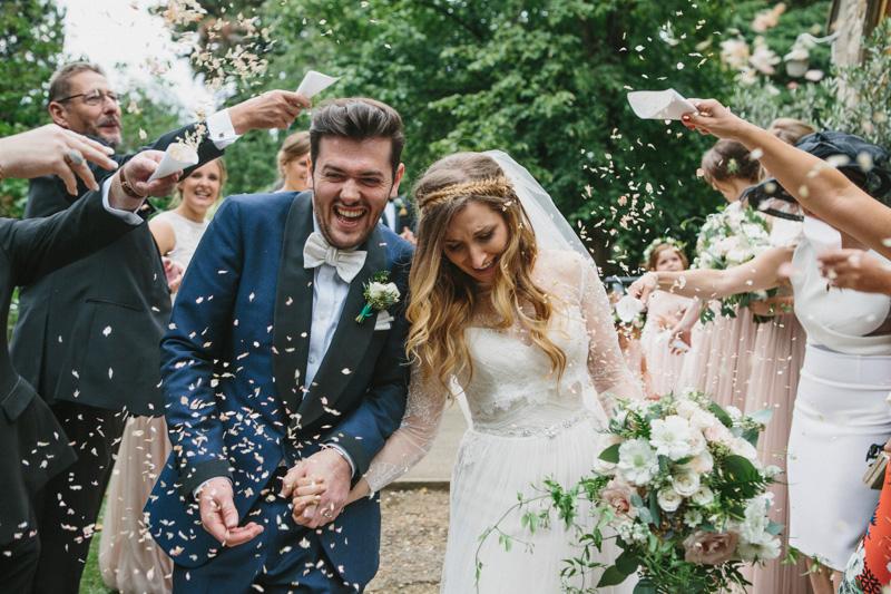 Fine art wedding photography, ceremony, confetti