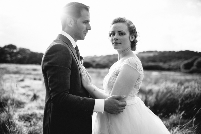 Natural wedding Couple portrait by south wales wedding photographer Peach & Jo taken at Fforest, Pembrokeshire, Wales, UK.
