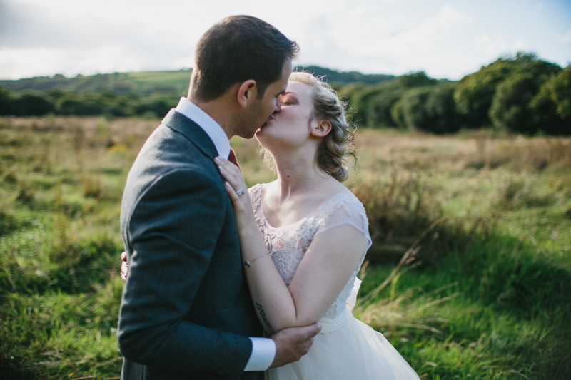 Natural wedding Couple portrait by fine art wedding photographer Peach & Jo taken at Fforest, Pembrokeshire, Wales, UK.